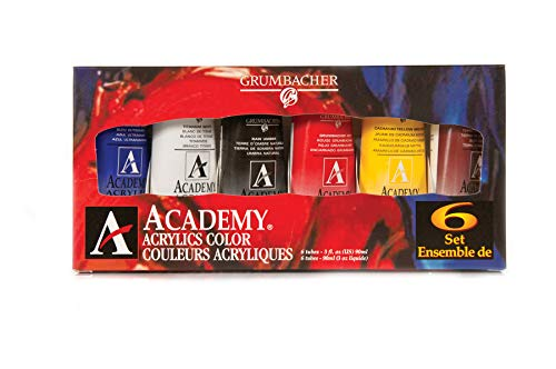 Grumbacher Academy Acrylic Paint, 90ml/3 oz Metal Tube, 6-Color Mixing Set (C1026)
