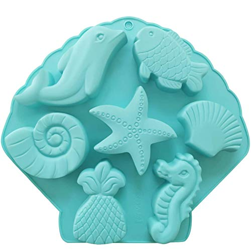Palksky Under The Sea Silicone Cake Mold Ocean Animal Dolphin/Fish/Conch/Starfish/Sea Shell/Seahorse/Mermaid Tail Soap Mold for Bath Bomb Jelly Mousse Candy Chocolate Mold Random Color