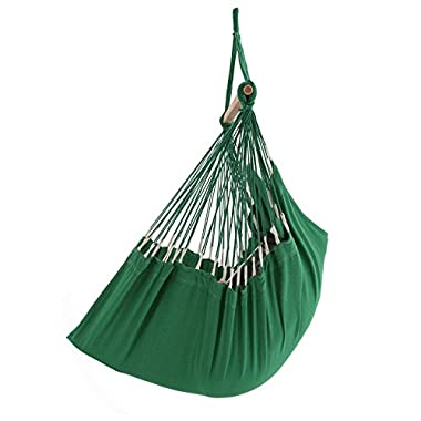 ELC HAMMOCK Large Hanging Rope Hammock Chair Porch Swing Seat for Patio, Yard, Bedroom, Porch, Indoor or Outdoor - Max. 330 Lbs, Green