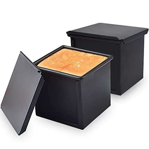 OJelay Mini Bread Loaf Pan With Cover 4x4 Inch Nonstick Low Sugar Toast Mold Square Pullman Loaf Pan