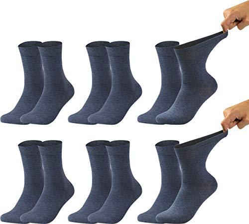 Vitasox 31122 Herren Gesundheitssocken extra weiter Bund ohne Gummi, Venenfreundliche Socken mit breitem Schaft verhindern Einschneiden & Drücken, 6 Paar Jeans 43/46