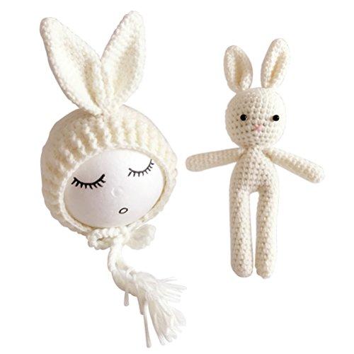 Yeahibaby Fotografía de recién nacido Foto Prop Crochet tejido conejo de juguete Bunny Hats para bebés niñas (rosa)