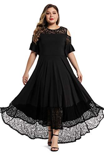LALAGEN Womens Plus Size Lace Cold Shoulder Long Swing Evening Party Maxi Dress