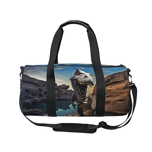 ALAZA Dinosaur on Mountain Rock Sports Gym Duffel Bag Travel Luggage Handbag for Men Women