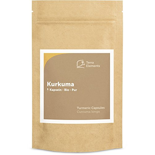 Terra Elements Bio Kurkuma Kapseln (400 mg, 150 St) I Mit schwarzem Pfeffer-Extrakt (Piperin) I Indische Gelbwurz I 100% rein I Vegan I Rohkost