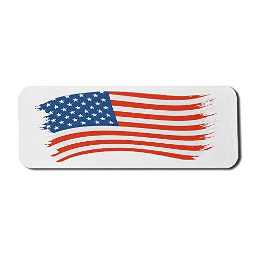 Patriotische Computer-Mauspad, Pinsel gemalt Look United States National Flag Illustration, Rechteck rutschfeste Gummi Mousepad große Zinnoberrot dunkel himmelblau