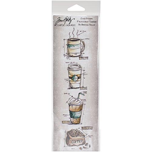 Stampers Anonymous_AGW stempel, design: Fresh Brewed, motief: Ontwerp/technische tekening, mini-strepen, grijs, crèmekleurig, 3