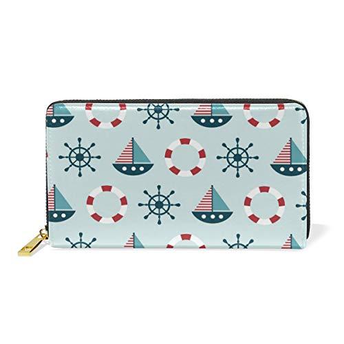 LORONA Baby Shower Label auf nautischem Muster Leder lange Reißverschluss Clutch Brieftasche Geldbörse für Frauen Travel Clutch Bag