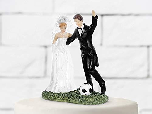 PartyDeco Dekoration Sposi mit Fußball, Resin, Weiß und Schwarz