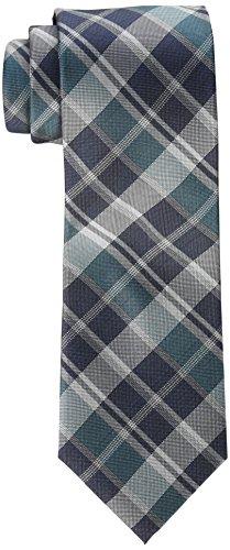 Calvin Klein Men's Plaid Tie, Teal, Regular
