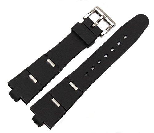 [Richie Strap]Hebilla de correa de reloj de buzo de buceo de caucho negro 24 mm x 8 mm para el sueño de las divas (plateado)
