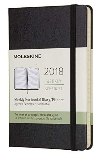 Moleskine 2018 Agenda Settimanale, 12 Mesi, Orizzontale, Tascabile, Copertina Rigida, 9x14 cm, Nero