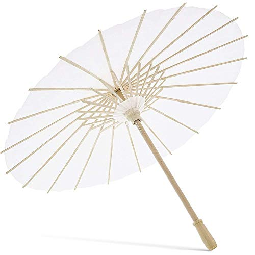 Small White Paper Umbrella Parasols for Crafts, Party Decor (11.7 x 15.5 In, 6-Pack)