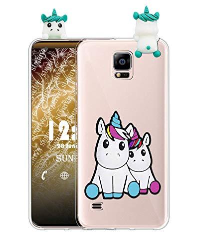 Sunrive Cover per Samsung Galaxy S5 Mini, Custodia 3D Case in Molle Trasparente TPU Silicone Morbida Flessibile AntiGraffio Protettiva Protector Back custodie Bumper(W1 Unicorno 2)