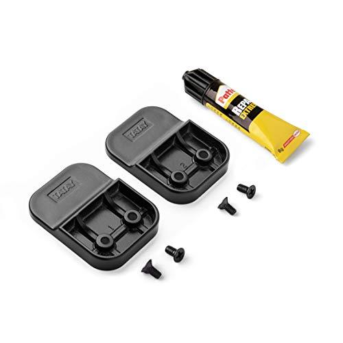 Tatay Kit de fijación Glue & Fix, Sistema de fijación sin taladrar, Compuesto de 2 Soportes en plástico y un Tubo de Pegamento de Alta Resistencia