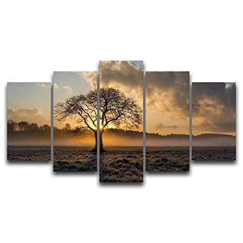 Canvas schilderij decoratie, Olieverf Landschap Vintage HD Wall Art Printed Pictures 5 Panel Poster Sunrise Tree Foto for Living Room Decor van het Huis (Size (Inch) : 20X35 20X45 20X55CM)