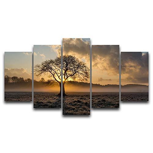 Canvas schilderij decoratie, Olieverf Landschap Vintage HD Wall Art Printed Pictures 5 Panel Poster Sunrise Tree Foto for Living Room Decor van het Huis (Size (Inch) : 20X35 20X45 20X55CM)