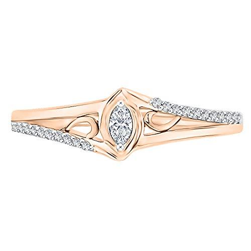 KATARINA Anillo de moda de diamantes de talla marquesa en oro rosa de 14 k (1/6 quilates, J-K, SI2-I1) (tamaño 6.5)