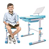 Einstein Kids Desk Set | Height Adjustable Children's Workstation, Grows with Your Child | Kid's Study Desk and Activity Table with Adjustable Chair | Sturdy and Durable with Easy Adjustments (Blue)
