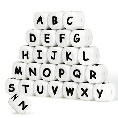Silikon Buchstaben Perlen,104 Stück Alphabet Englisch Würfel 12mm Machen Sie Ihr eigenes Kit Mix für schnullerkette Halskette Armband Ring DIY Bulk Set Baby Zahnen Kauen Perlen Personalisierter Name