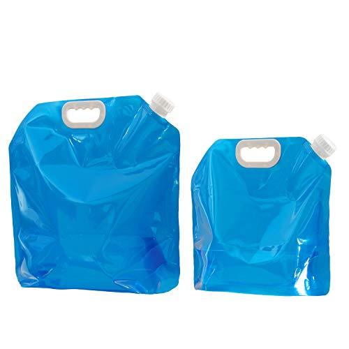 VABNEER 2 x Pack Wasserkanister Faltbar (5L+10L) Outdoor Faltschüssel Tragbar Faltbarer Trinkwasse BPA-freier ungiftiger geruchloser Wasser-Speicher-Beutel Für kampierendes wanderndes Picknick BBQ