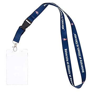 University of Illinois at Chicago UIC Flames Car Keys College ID Badge Holder Lanyard Keychain Detachable Breakaway Snap Buckle  w/ Pouch Blue