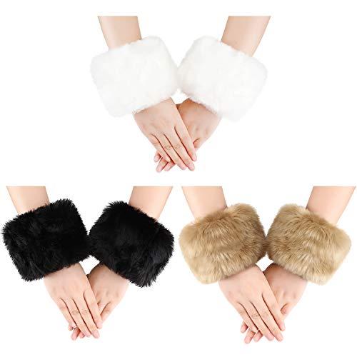 3 Pairs Women Winter Wrist Warmers Faux Fur Cuff Warmers Arm Leg Warmers for Women Costumes Gifts (White, Black, Camel)