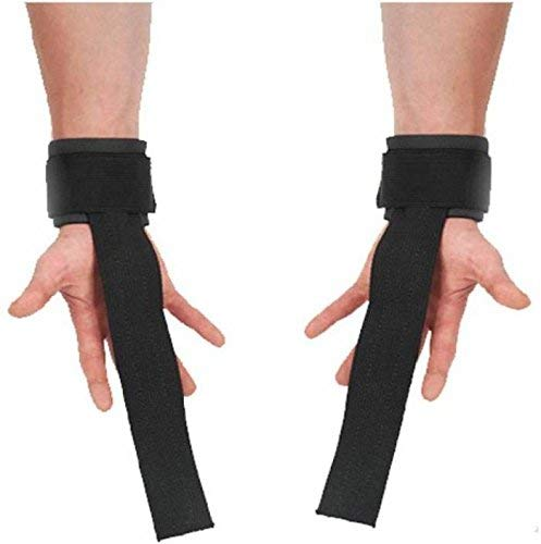 Neulife Matrix Rubber Weight Lifting Straps for Wrist Support - 1 Pair (Free Size, Black)