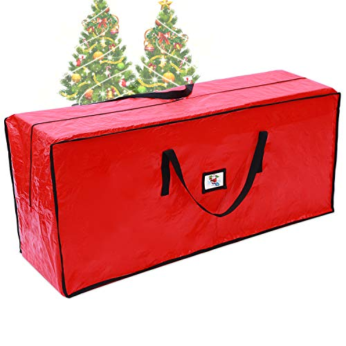 """Ohuhu 6ft Christmas Tree Storage Bag, 48"""" x 20"""" x 15"""" for 4 Foot Tree or 6 Foot Disassembled Christmas Tree, Multipurpose Storage Bag with ID Tag Holder Waterproof Tear Proof Material, Red"""