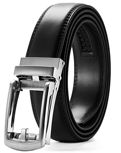 Leather Ratchet Dress Belt 1 1/8 with Slide Buckle, CHAOREN Click Belt Comfort Adjustable Trim to Exact fit