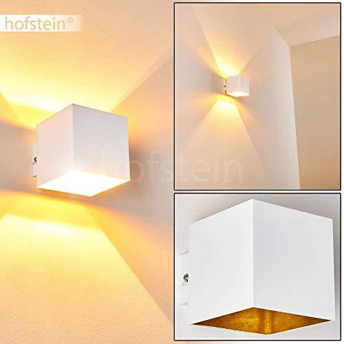 Wandlamp Varco van metaal in wit/goud, moderne wandlamp met lichteffect, 1 x G9 fitting, max. 28 Watt, kubus/interieur wandlamp met op & neer effect, geschikt voor LED-verlichting