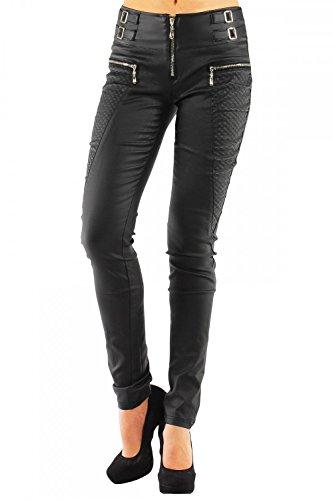 DANAEST Damen Kunstlederhose Skinny (Roehre No: 245), Groesse:40 L;Farbe:Schwarz