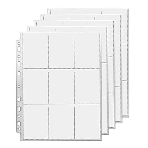 Juego de Fundas para Cartas 25PCS, Juegos de Cartas Álbum de Paquetes de Tarjetas Almacenamiento Colección páginas del Álbum para Carpetas de Anillas A4, Colección