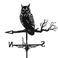Vintage Farm Owl Weathervane Steel Weathercock Home Weather Vane Wind Direction、Home Lawn Yard Roof Wind Direction