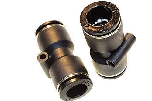2 conectores neumáticos, conectores de manguera, conector de aire comprimido, rectos, diámetro de 12 mm, adaptador de manguito, sistema de conexión, conexión atornillado