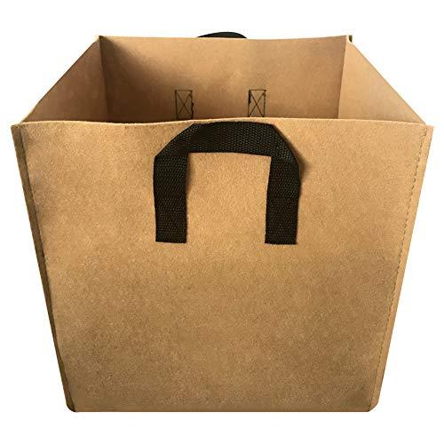 GRANDLIN, 2er-Pack, quadratischer Pflanzbeutel, verdickter Stoff, Belüftungsstoff, Würfelform, Vlies-Töpfe mit Griffen