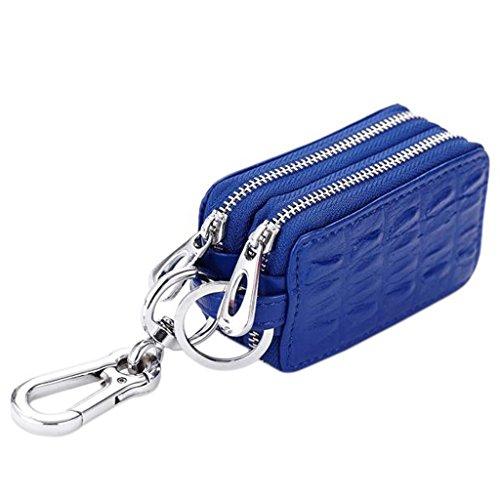 Esdrem Schlüsselmäppchen Unisex handgefertigt echtes Leder Reißverschluss Schlüsselanhänger Fall Tasche KFZ Schlüssel Halter Tasche