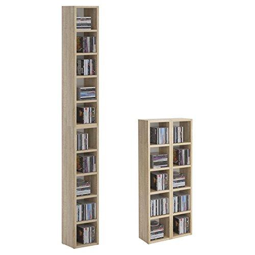 CARO-Möbel CD DVD Regal Ständer Aufbewahrung Chart, in Sonoma Eiche mit 10 Fächern für bis zu 160 CDs, 20x186,5 cm (Breite x Höhe)