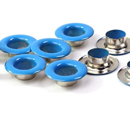 100 Sets 14 Kleuren Binnenmaat 3-10mm IJzeren kleding Oogjes voor Leathercraft Scrapbooking Schoenen Riem Cap Tas Kleding Accessoires inner size 3mm Lichtblauw