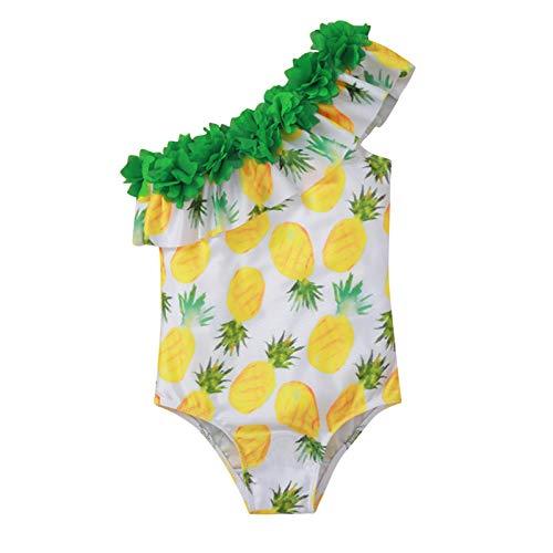 SolaXii Bañador infantil con espalda cruzada y volantes, escote hawaiano, de una pieza, correa para el hombro fruncida, sandía, estampado floral