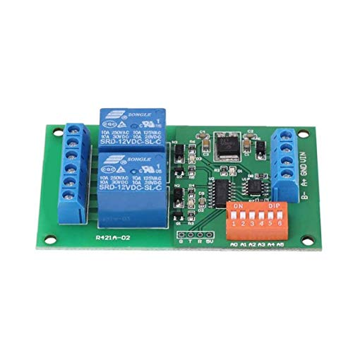 NaiCasy Relay Module 2 Channel Relay Board RS485 MODBUS RTU AT Dual Command Input Serial Port Remote Control Switch Blue