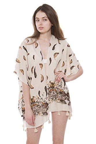 Achillea Boho Kimono Cardigan Blouse Top Summer Evening Cover-up (Beige Feather Print)
