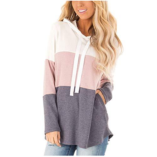 Sudadera de manga larga con bolsillo y capucha suelta, para mujer, rosa, XL