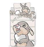 Kinderbettwäsche Disney III 2-teilig 100% Baumwolle 40x60 + 100x135 cm mit Reißverschluss (Thumper)