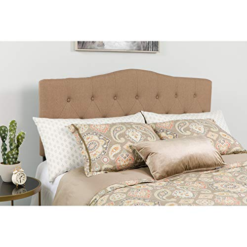 Flash Furniture Cambridge Tufted Upholstered Queen Size Headboard in Camel Fabric