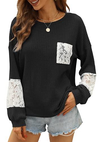 Strickpullover Damen Basic Langarm Oberteile Herbst Sexy Pullover Oversize Lang Fledermaus Shirts(Schwarz, Large)