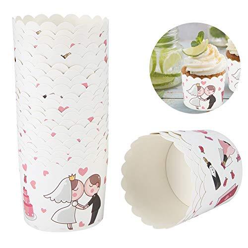 Changor Taza de Papel de Pastel rápido, 7x6x5.5cm Cartón Blanco Hecho 220 ℃ para la Cocina DIY Party Pastel Decoración para Hornear