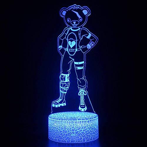 Luz de noche 3D LED de oso mágico, control remoto que cambia de color, luz nocturna ilusión, el mejor regalo creativo para niños