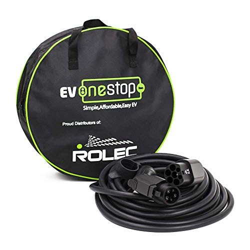 EV/Cable de Carga para vehículos eléctricos | Tipo 1 a Tipo 2 | 32 amperios (7.2kW) | 5 Metros | Estuche de Transporte Gratuito |