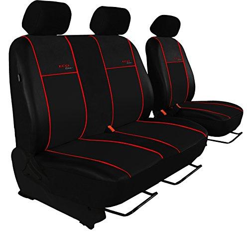 POK-TER BUS Autositzbezug Super Qualität für Bus und Transporter (Fahrersitz + 2er Beifahrersitzbank). Design Kunst-Line. Hier mit Roter Lamelle